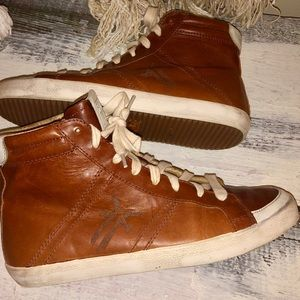 Frye Cognac Leather Dylan High Tops Shoes 8.5